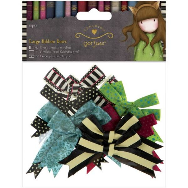 Simply Gorjuss Large Ribbon Bows 12/Pkg