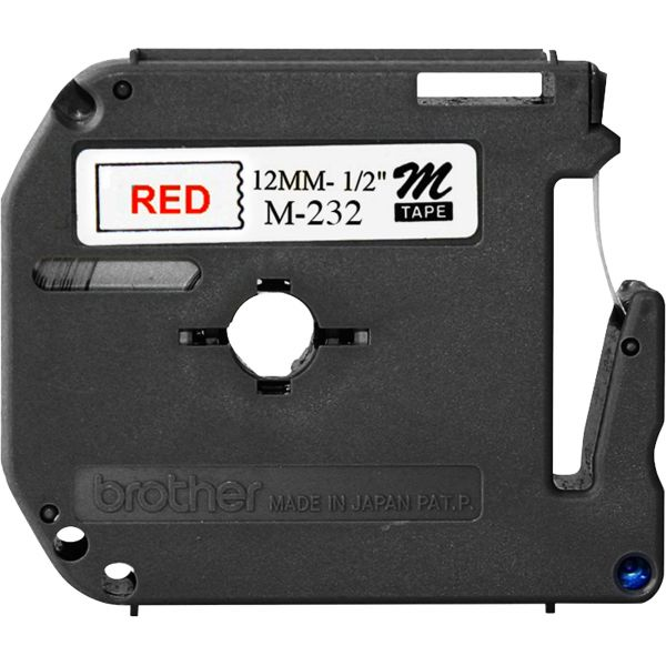 """Brother P-Touch M Series Tape Cartridge for P-Touch Labelers, 1/2""""w, Red on White"""