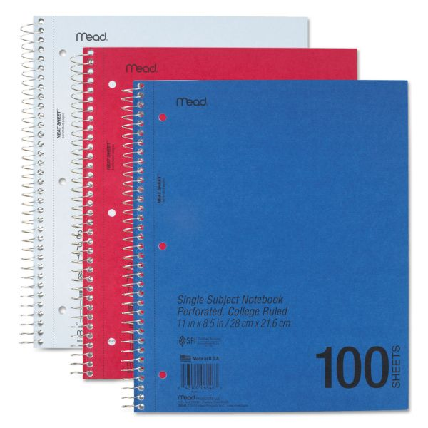 Mead 1-Subject Perforated College Ruled Notebook