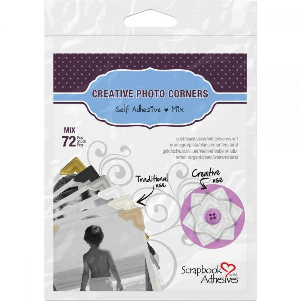 Scrapbook Adhesives Paper Photo Corners Self-Adhesive 72/Pkg