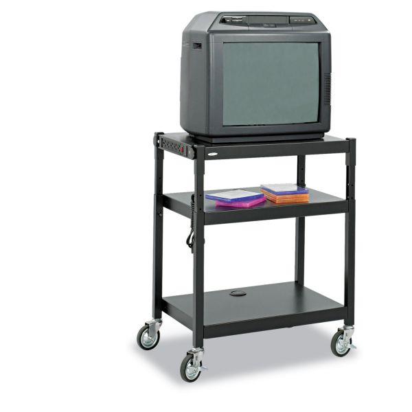 Safco Adjustable-Height Steel AV Cart, 27-1/4w x 18-1/4d x 28-1/2 to 36-1/2h, Black