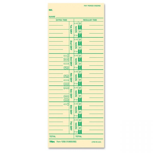 TOPS One-Sided Weekly Time Cards