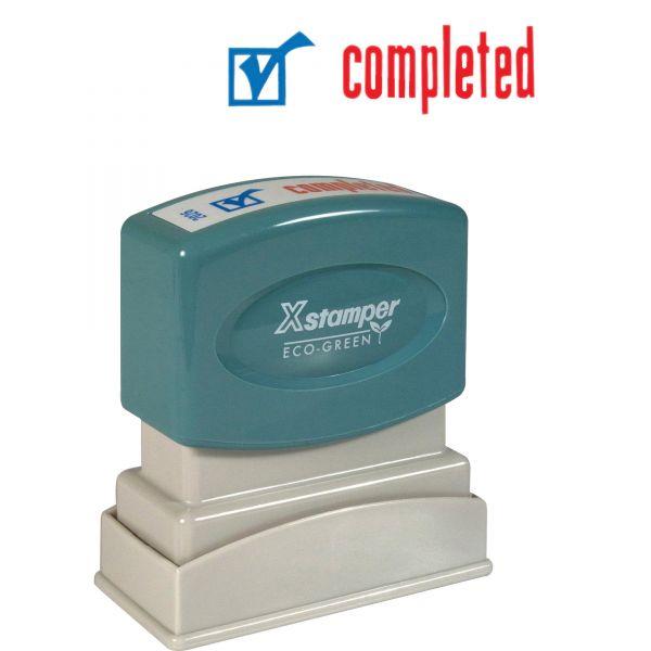 Xstamper Red/Blue COMPLETED Title Stamp