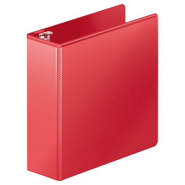 "Wilson Jones Heavy-Duty 3-Ring View Binder w/Extra-Durable Hinge, 3"" Capacity, D-Ring, Red"