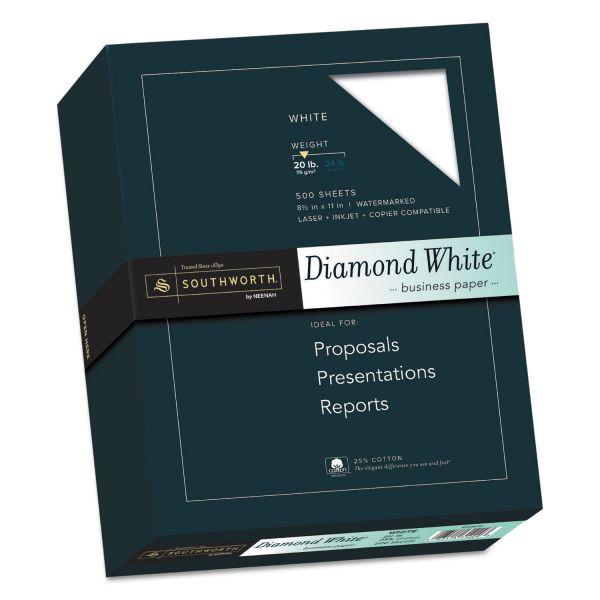 Southworth 25% Cotton Diamond White Business Paper, 20lb, 95 Bright, 8 1/2 x 11, 500 Sheets