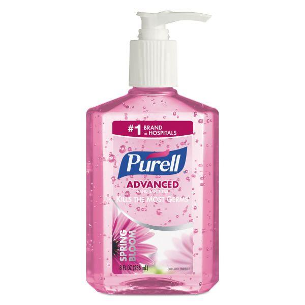 PURELL Spring Bloom Instant Hand Sanitizer, 8oz Pump Bottle, Pink, 12/Carton
