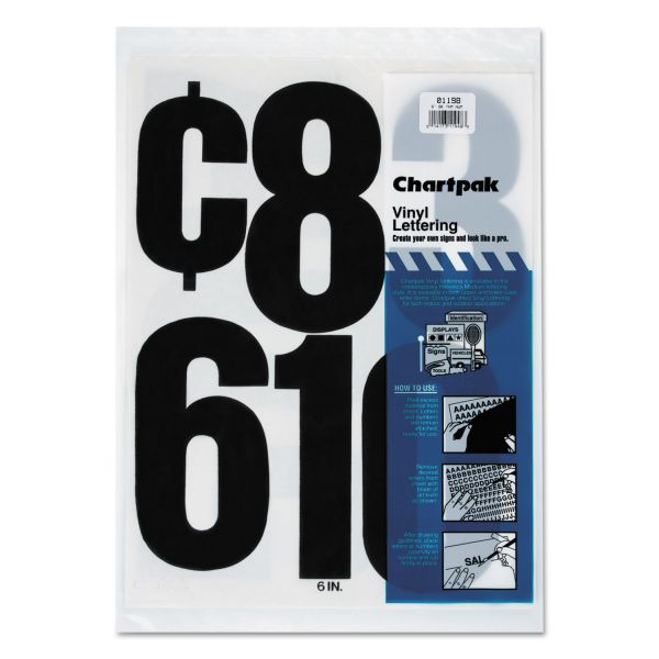 "Chartpak Press-On Vinyl Numbers, 6"", Black, 21/Pack"