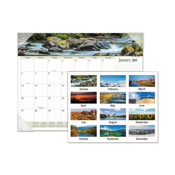 AT-A-GLANCE Landscape Panoramic Desk Pad, 22 x 17, Landscapes, 2019