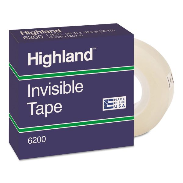 """Highland Invisible Permanent Mending Tape, 3/4"""" x 1296"""", 1"""" Core, Clear"""