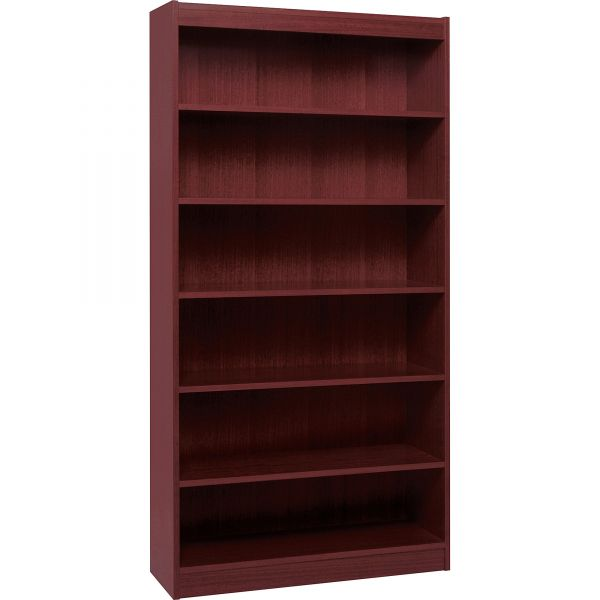 Lorell Panel End 6-Shelf Hardwood Veneer Bookcase