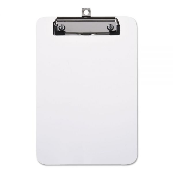 "Universal Plastic Clipboard with Low Profile Clip, 1/2"" Capacity, Holds 5 x 8, Clear"
