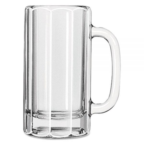 Libbey 12 oz Glass Paneled Beer Mug