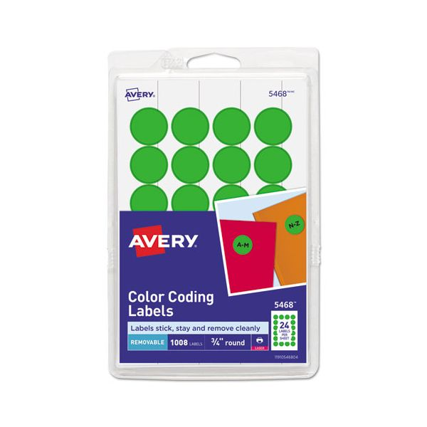 "Avery Printable Removable Color-Coding Labels, 3/4"" dia, Green, 1008/Pack"