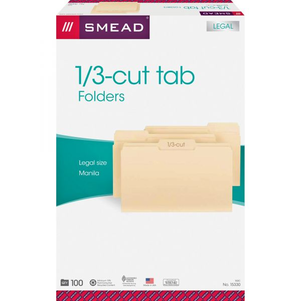 Smead 1/3 Cut Assorted Position File Folders, One-Ply Top Tab, Legal, Manila, 100/Box