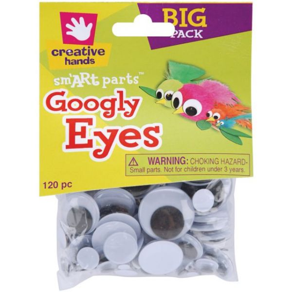 Glue-On Googly Eyes Assorted 5mm To 30mm 120/Pkg