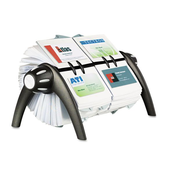 Durable VISIFIX Duo Rotary Business/Address File Holds 800 4 1/8 x 2 7/8 Cards, Black