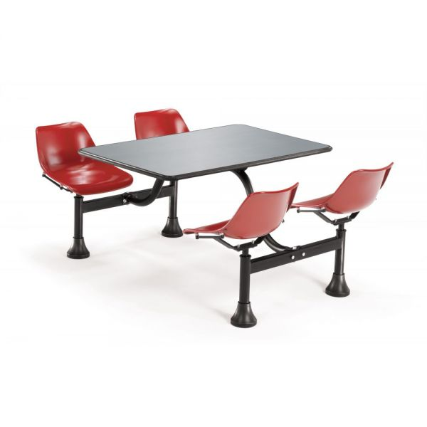 OFM OFM Cluster Table with 4 Attached Swivel Chairs and Stainless Steel Top, Red
