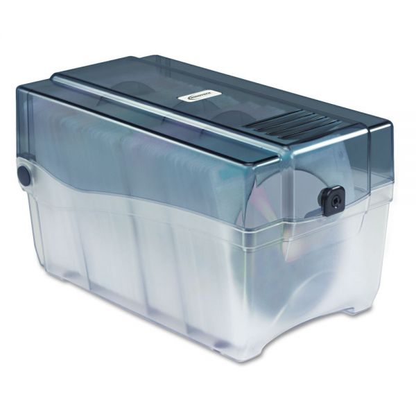 Innovera CD/DVD Storage Case with Hinged Lid and Key Lock Holds 150 Discs, Clear