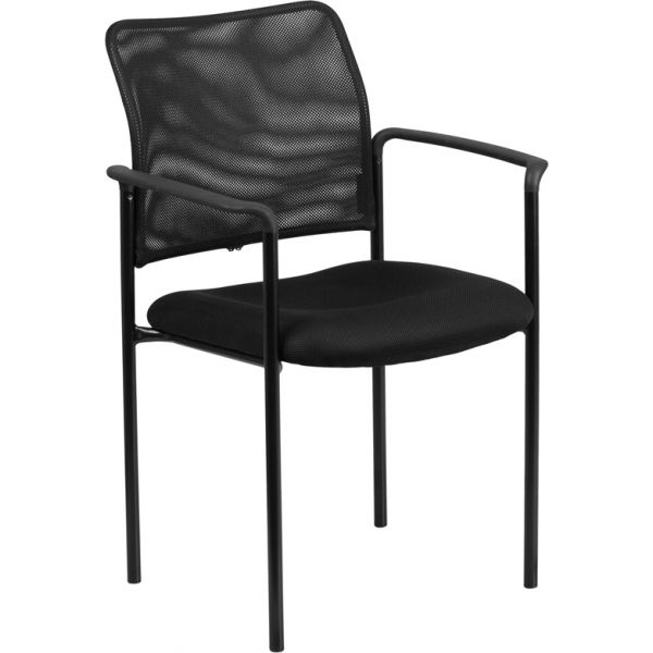 Flash Furniture Black Mesh Comfortable Stackable Steel Side Chair with Arms
