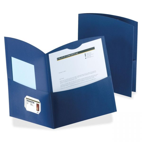 Oxford Contour Dark Blue Two Pocket Folders