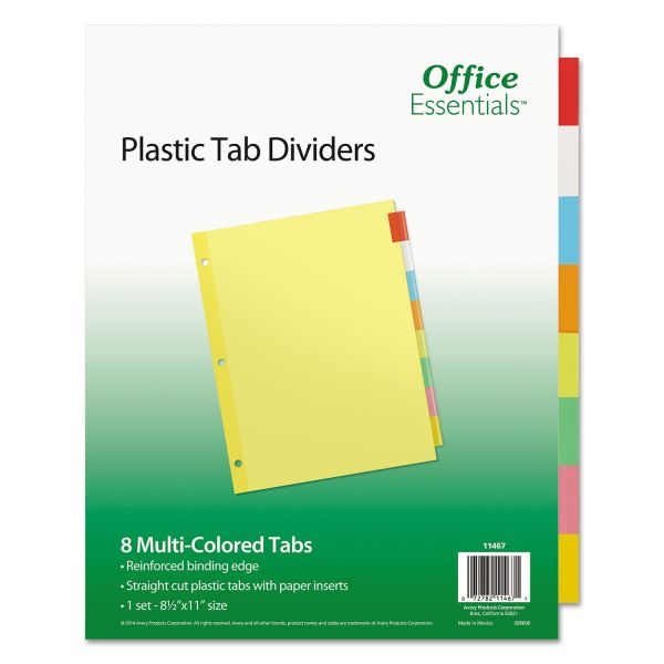 Office Essentials Plastic Insertable Dividers, 8-Tab, Letter