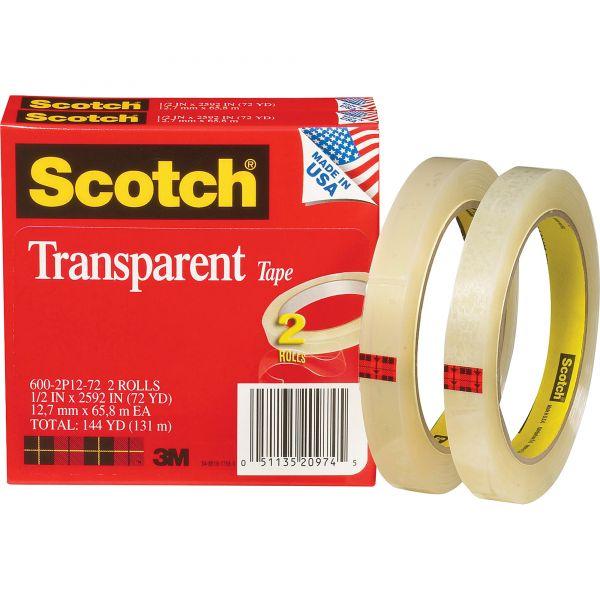 "Scotch Transparent Tape 600 2P12 72, 1/2"" x 2592"", 3"" Core, Transparent, 2/Pack"