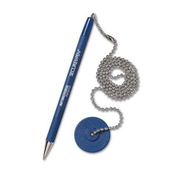 MMF Industries Secure-A-Pen Ballpoint Antimicrobial Counter Pen with Base, Blue Ink, Medium