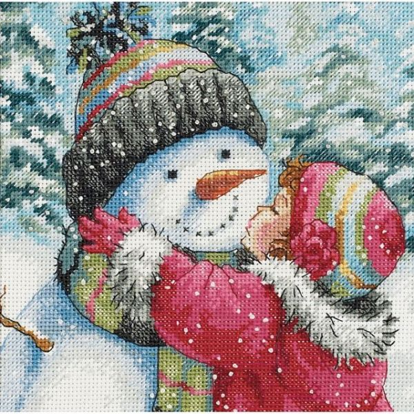 Gold Petite A Kiss For Snowman Counted Cross Stitch Kit