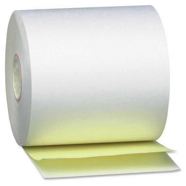 """PM Company Paper Rolls, Teller Window/Financial, 3 1/4"""" x 80 ft, White/Canary, 60/Carton"""