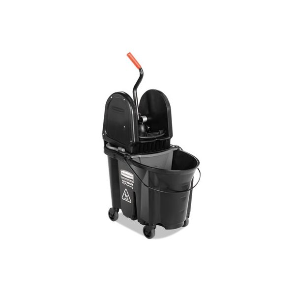 Rubbermaid Commercial Executive WaveBrake Down-Press Mop Bucket, Black, 35 Quart