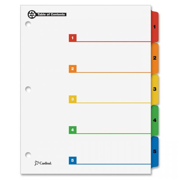 Cardinal OneStep Table of Contents Numbered Tab Dividers