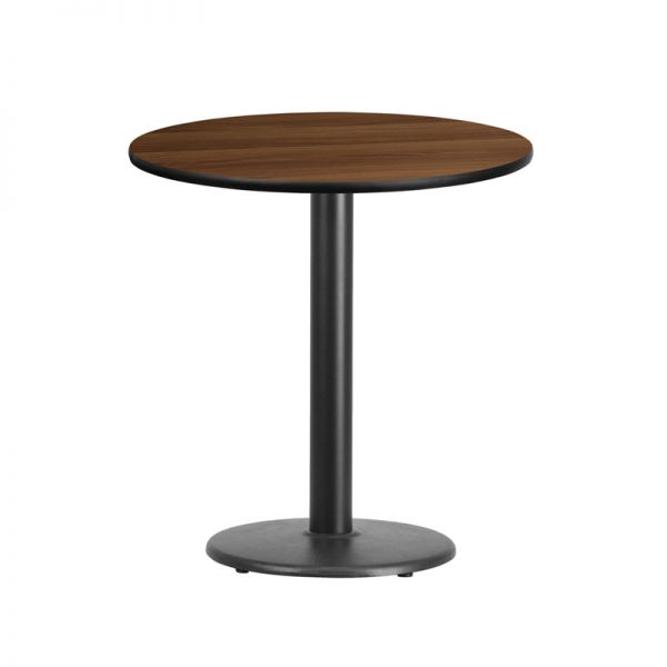 Flash Furniture 24'' Round Walnut Laminate Table Top with 18'' Round Table Height Base