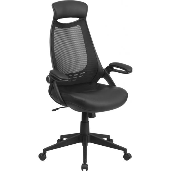 Flash Furniture High Back Mesh Executive Office Chair with Leather Padded Seat and Flip-Up Arms