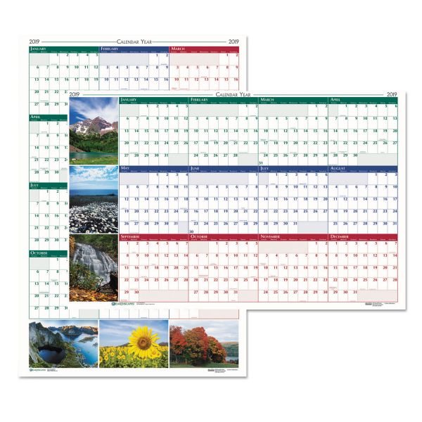 House of Doolittle Recycled Earthscapes Nature Scene Reversible Yearly Wall Calendar, 18 x 24, 2019