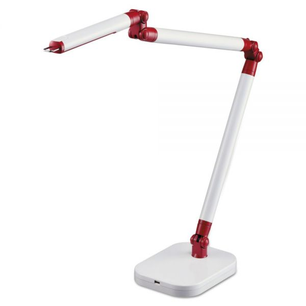 "BLACK+DECKER PureOptics SummitFlex Ultra Reach LED Desk Light, 2 Prong, 29 1/2"", White/Red"