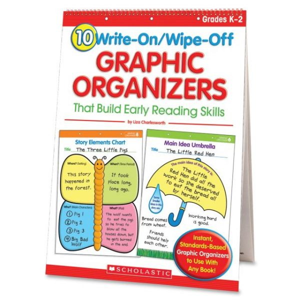 Scholastic 10 Write-On/Wipe-Off Graphic Organizers That Build Early Reading Skills (Flip Chart) Education Printed Book