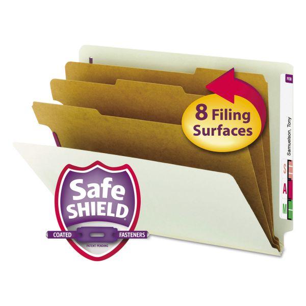 Smead Pressboard End Tab Classification Folder, Letter, 8-Section, Gray/Green, 10/Box