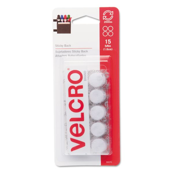 Velcro Sticky-Back Hook & Loop Dot Fasteners on Strips, 5/8 dia., White, 15 Sets/Pack