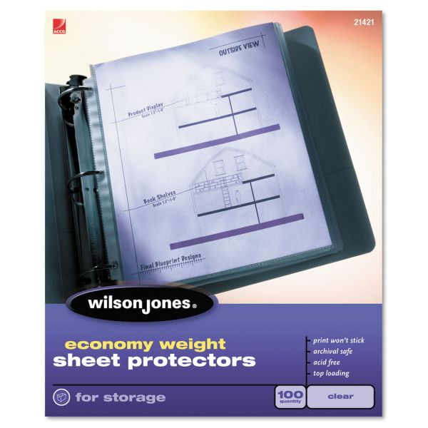 Wilson Jones Top Loading Economy Weight Sheet Protectors