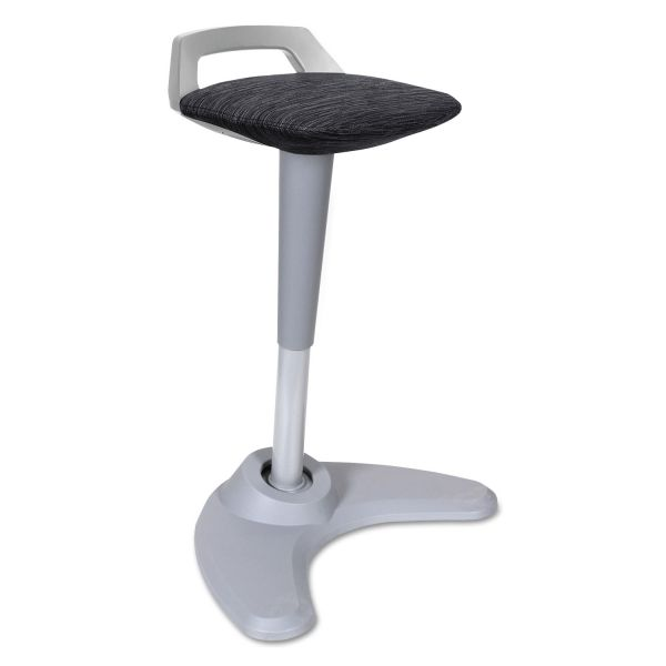 Alera Sit to Stand Perch Stool, Black with Silver Base