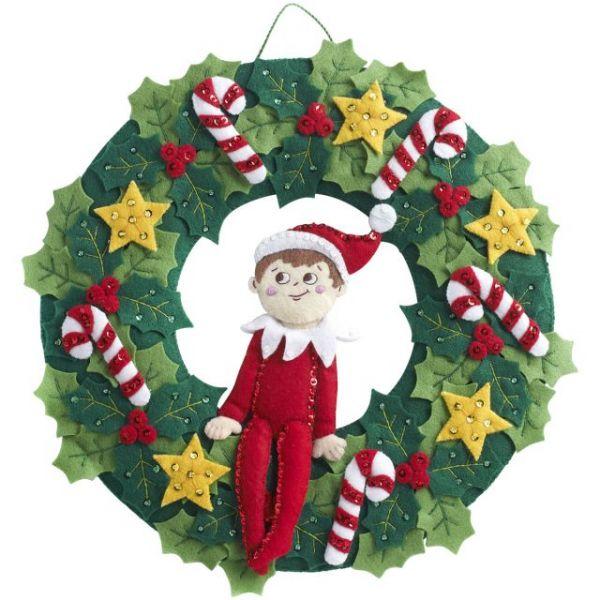 Elf On The Shelf Scout Elf Wreath Felt Applique Kit