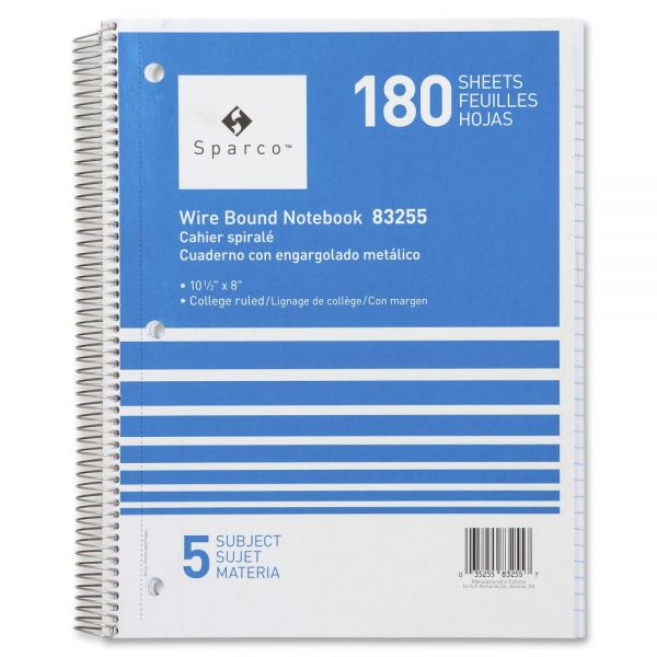 Sparco 5-Subject College Ruled Spiral Notebook