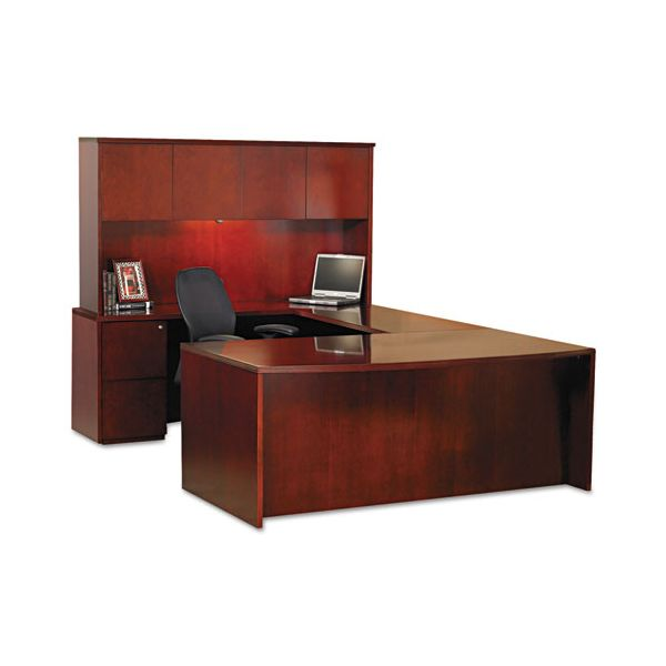 Mayline Luminary Series Wood Veneer Hutch, 70w x 14d x 39h, Cherry