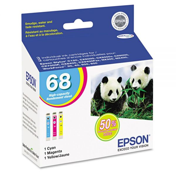 Epson T068520 (68) DURABrite High-Yield Ink, Cyan/Magenta/Yellow, 3/PK