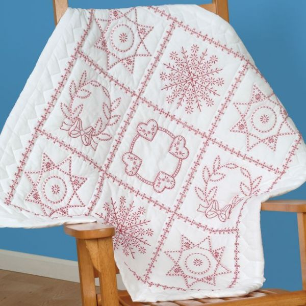 """Stamped White Wall Or Lap Quilt 36""""X36"""""""
