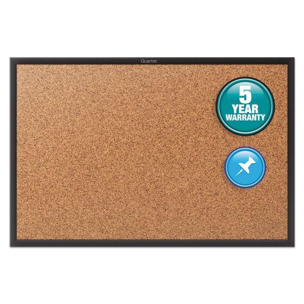 Quartet Classic Series Cork Bulletin Board, 48x36, Black Aluminum Frame