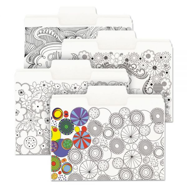 """Smead SuperTab Coloring File Folders, 1/3 Cut, 3/4"""" Expansion, Letter, White, 24/Pack"""