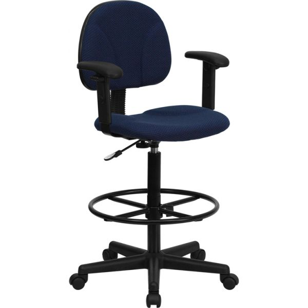 Flash Furniture Fabric Ergonomic Drafting Chair with Height Adjustable Arms