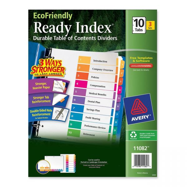 Avery Ready Index Durable Table of Content Numbered Dividers