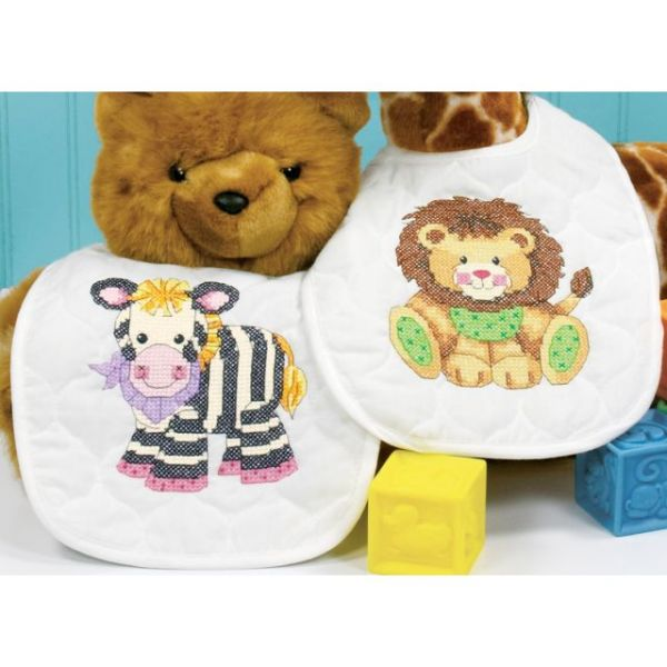 Dimensions Baby Hugs Baby Express Bibs Stamped Cross Stitch Kit